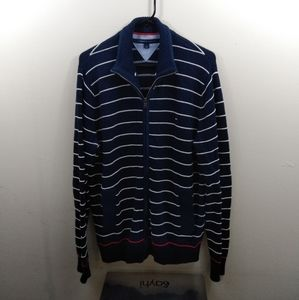 Vtg Tommy Hilfiger blue stripe full zip sweater L